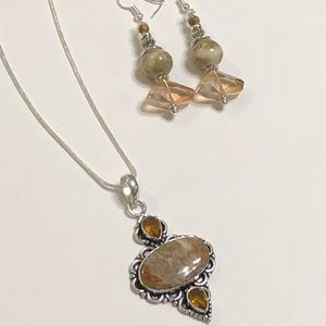 Jasper & Topaz Necklace & Matching Earrings Set